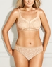 Awareness Full Figure Seamless Soft Cup Bra and Hi-Cut Panty in Sand