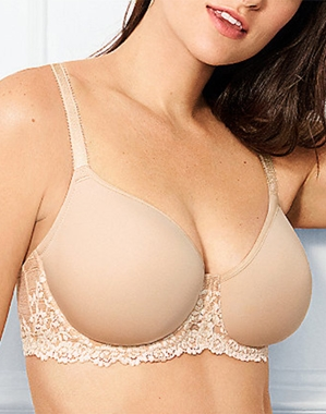 Embrace Lace Underwire T-Shirt Bra in Sand/Ivory