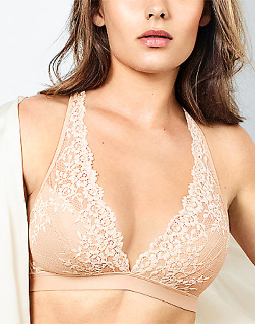 Embrace Lace Wire Free Bra in Sand/Ivory