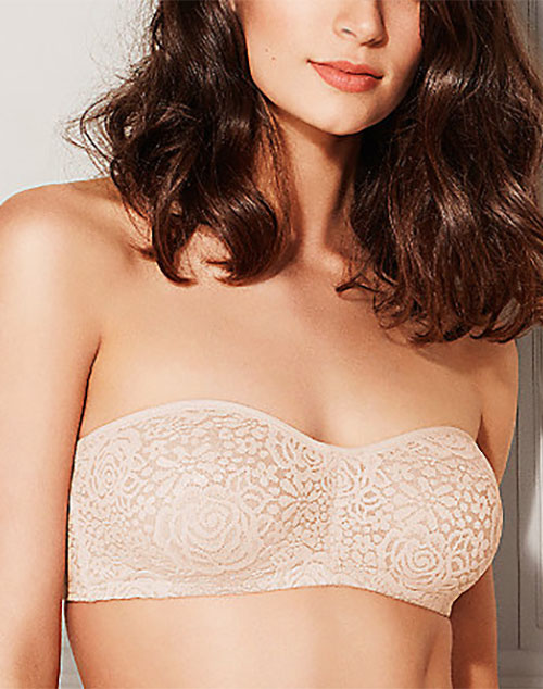 Halo Lace Strapless Bra in Sand