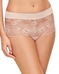 Wacoal Fire and Lace Boyshort in Mahogany Rose