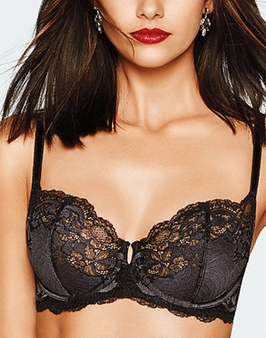 Wacoal Lace Affair Underwire Bra in Black/Graphite