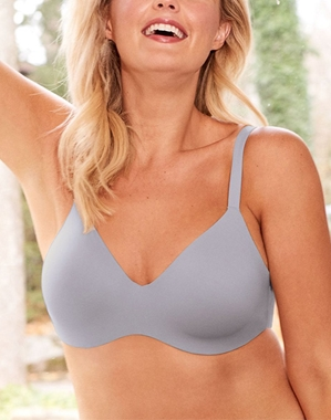 Flawless Comfort Underwire Bra, Back View in Lilac Gray