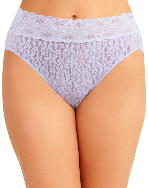 Halo Lace Hi-Cut Brief Panty in Purple Heather