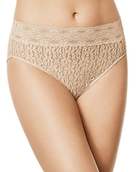 Halo Lace Hi-Cut Brief Panty in Sand