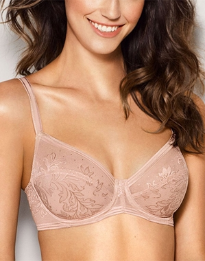 Wacoal Net Effect Underwire Bra in Rose Dust