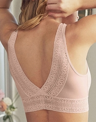 Future Foundation Crop Top with Lace in Rose Smoke, Back View